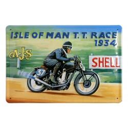 Plaque métal  publicitaire 20x30cm bombée en relief :  ISLE OF MAN.