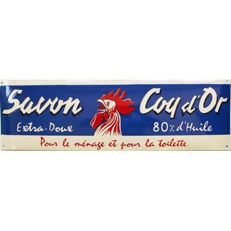 Plaque émaillée : SAVON COQ D'OR