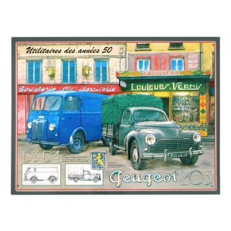 Plaque métal publicitaire plate 30 x 40 cm : Peugeot Utilitaires Années 50