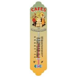 Thermomètre métal bombé hauteur 28cm : CAFÉ DES COLONIES