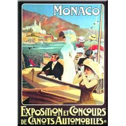 Plaque métal publicitaire 15x20cm bombée :  Monaco Canots Automobiles