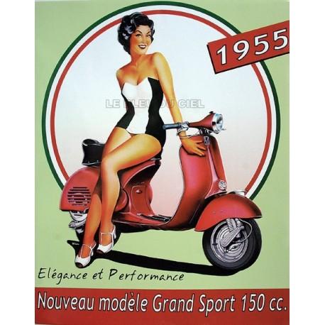 Plaque métal publicitaire 30x40cm plate en relief  :  VESPA 1955.