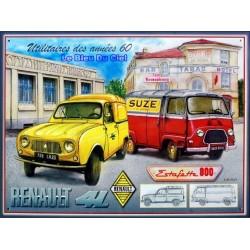 Plaque métal  publicitaire 30x40cm bombée relief :  Renault utilitaires année 1960