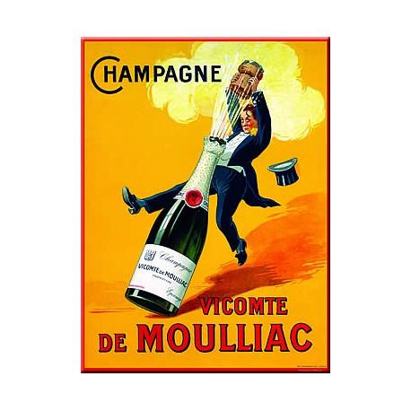 Plaque métal publicitaire 15x20cm plate : Champagne De Moulliac