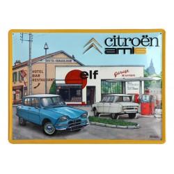 Plaque métal publicitaire en relief bombée 30 x 40 cm : Citroën Ami 6