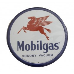 plaque métal publicitaire diamètre 30cm : MOBILGAS PEGASAS