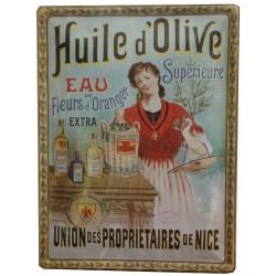 Plaque métal publicitaire 30x40 cm bombée  : HUILE D'OLIVE SUPERIEURE