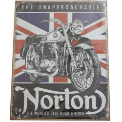 plaque métal publicitaire 30x40cm plate The unapproachable NORTON