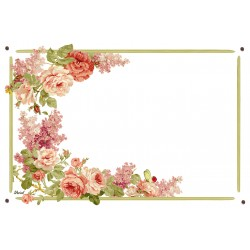 Plaque émaillée 15 x 22 cm : Décor Roses et Pois de senteur