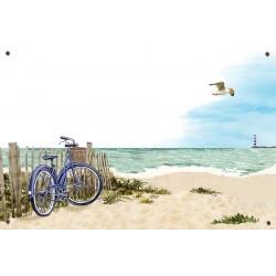 Plaque émaillée 15 x 22 cm : Décor Dunes et Vélo