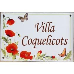 Plaque émaillée 15 x 22 cm : Coquelicots