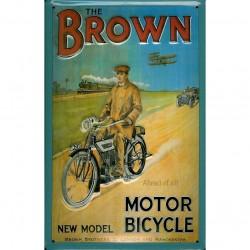 Plaque métal publicitaire 20x30cm bombée en relief : THE BROWN Motorbicycle
