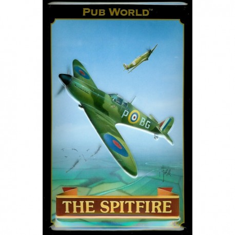 Plaque métal 20x30cm bombée en relief : THE SPITFIRE
