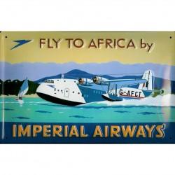 Plaque métal publicitaire 20x30cm bombée en relief :  FLY TO AFRICA