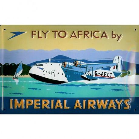 Plaque publicitaire 20x30cm bombée en relief :  FLY TO AFRICA