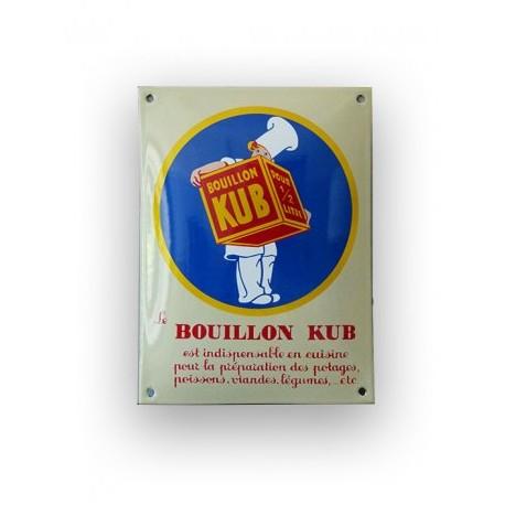 Plaque émaillée bombée : Le Bouillon Kub
