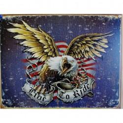 plaque publicitaire  plate 30 x 40 cm : LIVE TO RIDE