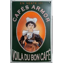 Plaque émaillée bombée : CAFE ARMOR