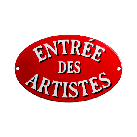 Plaque émaillée ovale:  ENTREE DES ARTISTES
