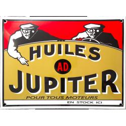 Plaque émaillée bombée : HUILES JUPITER