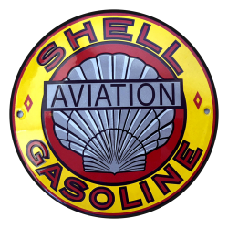 Plaque émaillée publicitaire ronde diamètre 20 cm plate : SHELL GASOLINE AVIATION