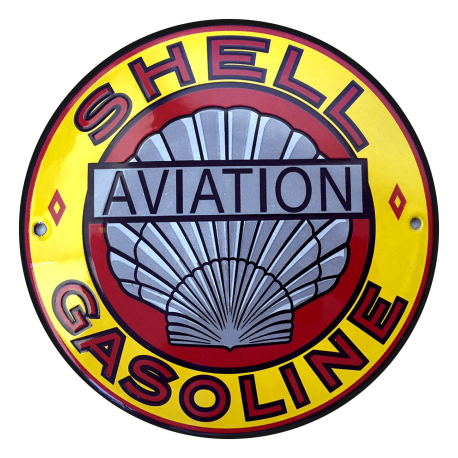 Plaque métal publicitaire ronde diamètre 30cm plate : SHELL GASOLINE AVIATION