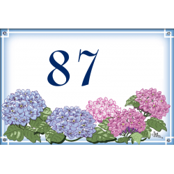 Numéro émaillée 7 x 10,5 cm : Décor Hortensias