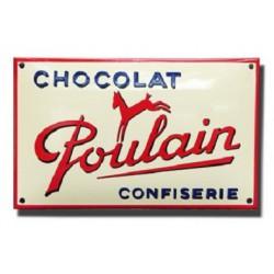Plaque émaillée  18 x 30 cm bombée :  Chocolat Poulain Confiserie
