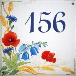 Plaque émaillée 15 x 15 cm : Décor Coquelicots