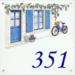 Plaque émaillée 15 x 15 cm : Décor Volets Bleus