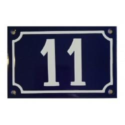 Numéro de rue  émaillé 10 x 15 cm bleu - Numero 11