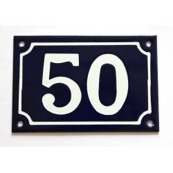 Numéro de rue  émaillé 10 x 15 cm bleu - Numero 50