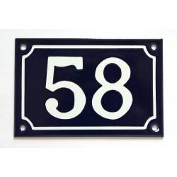 Numéro de rue  émaillé 10 x 15 cm bleu - Numero 58