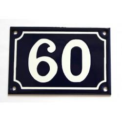 Numéro de rue  émaillé 10 x 15 cm bleu - Numero 60