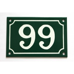 Numéro de rue  émaillé 10 x 15 cm vert - Numero 99