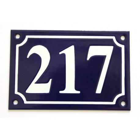 Numéro de rue  émaillé 10 x 15 cm bleu - Numero 217