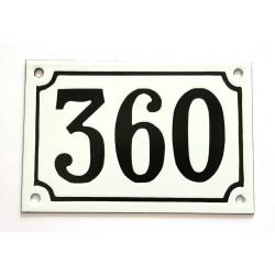 Numéro de rue  émaillé 10 x 15 cm blanc - Numero 360