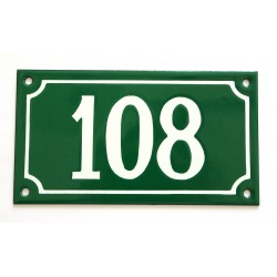 Numéro de rue  émaillé 10 x 18 cm vert - Numero 108