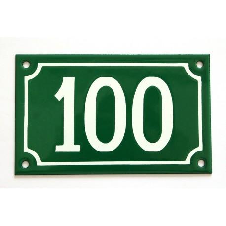 Numéro de rue  émaillé 10 x 16 cm vert - Numero 100