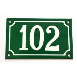 Numéro de rue  émaillé 10 x 16 cm vert - Numero 102