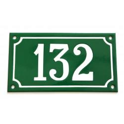 Numéro de rue  émaillé 10 x 18 cm vert - Numero 132