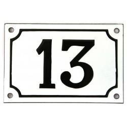 Numéro de rue  émaillé 10 x 15 cm blanc - Numero 13