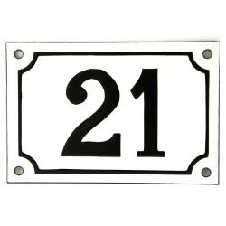 Numéro de rue  émaillé 10 x 15 cm blanc - Numero 21