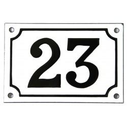Numéro de rue  émaillé 10 x 15 cm blanc - Numero 23