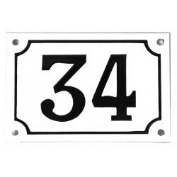 Numéro de rue  émaillé 10 x 15 cm blanc - Numero 34