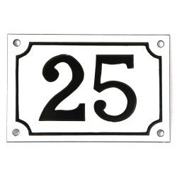 Numéro de rue  émaillé 10 x 15 cm blanc - Numero 25