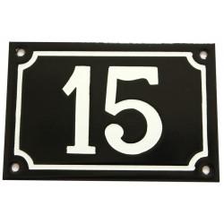 Numéro de rue  émaillé 10 x 15 cm noir - Numero 15
