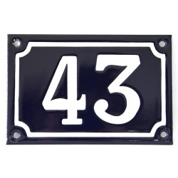 Numéro de rue  émaillé 10 x 15 cm bleu - Numero 43