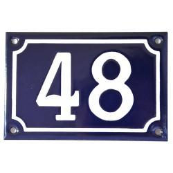 Numéro de rue  émaillé 10 x 15 cm bleu - Numero 48