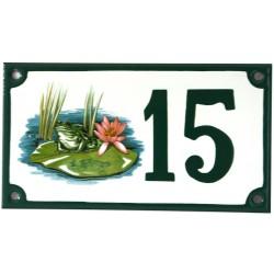 Numéro de rue  émaillé 10 x 15 cm Nenuphar - Numero 15